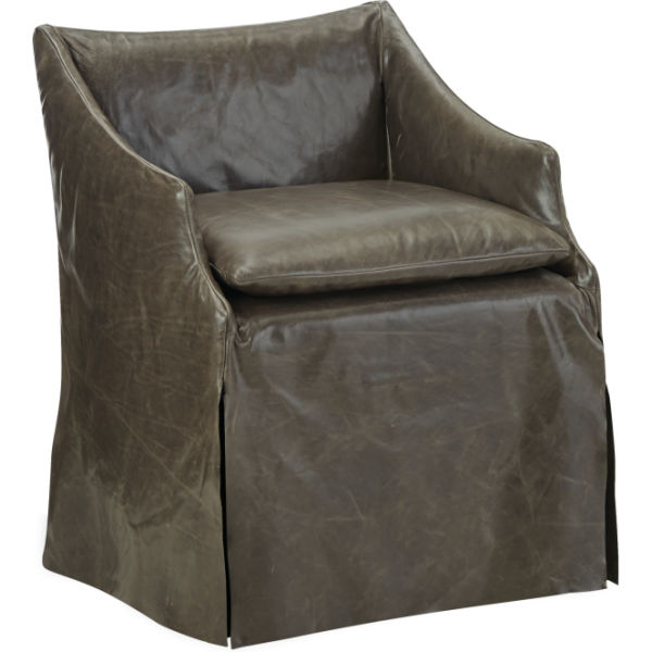 Ls5203 01c Leather Slipcovered Low Back Campaign Chair At